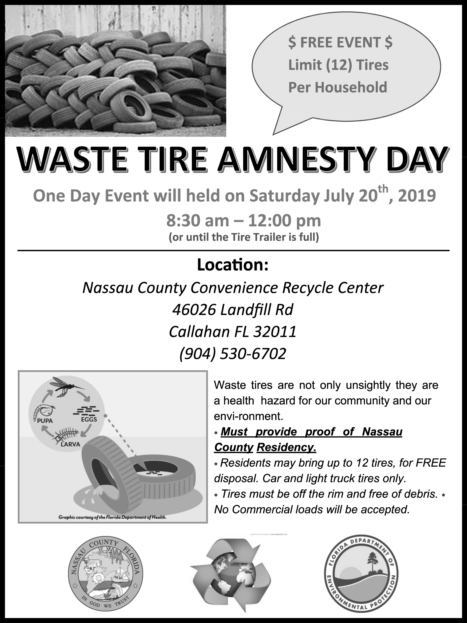 Waste Tire Amnesty Day in Callahan, FL, Trash Services